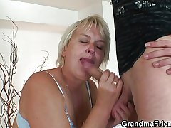 Old blonde postilion is banged by one younger dudes