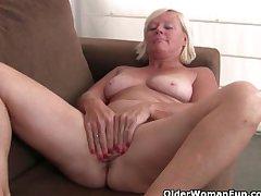 Belgium grandma loves masturbating in all directions pantyhose