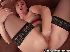 Sale-priced grandma in nylons fist fucks her hairy cunt