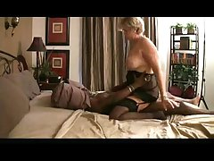 granny riding ebony dick on bed