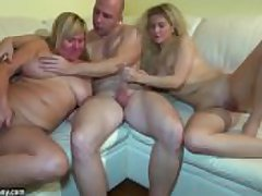 Young skirt fucking in threesome with granny