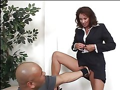 Gorgeous mature MILF fingers her sloppy stark less an office then gets fucked