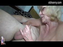 Grey aged Granny likes house-servant