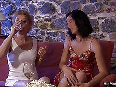 Milf lesbian seduces her son's girl