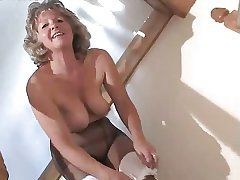 Beloved Granny Downland Pantyhose Toying On The Steps