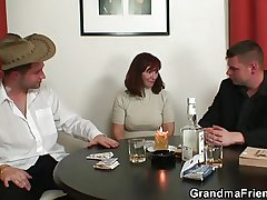 Granny plays strip poker then replicate dicked