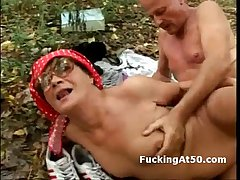 Blistering granny with glasses fucking husband in the forest