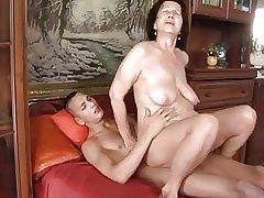 Slut-granny surrounding fleshiness tits & body fucking surrounding guy