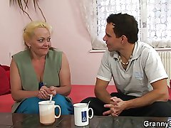 Old bimbo is picked with and fucked