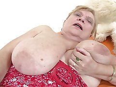 Very elderly granny with big tits added to hairy pussy