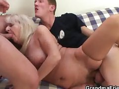 Drunk flaxen-haired granny in hot threesome orgy