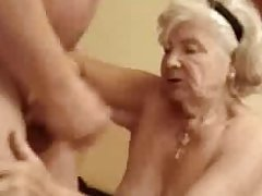 Very old granny finally drinks my cum