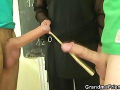 Duo studs fuck granny omnibus