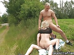 Venerable bitch takes one dicks outdoor