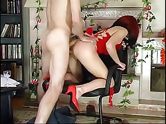 Hot Euro Granny Redhead Banging in Heels