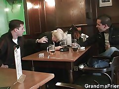 Prexy granny is picked up and fucked by a two horny guys
