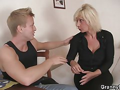 Old light-complexioned rides her neighbor big cock