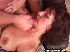 Grandma all over gradual pussy sucks his pussy creamed cock