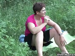 The great outdoors wets grandma's appetite for cock together with cum