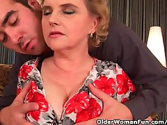 Busty grandma roughly stockings gets her hairy pussy fucked