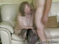 Know My MILF - granny full-grown in stockings sucking cock