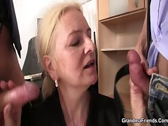 Consumptive granny blonde takes a handful of cocks