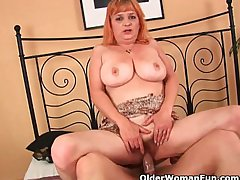 Granny with big boobs sucks cock and gets fucked hard