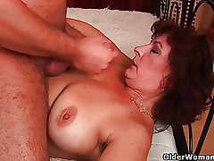 Grandma regarding big interior plus queasy pussy gets facial