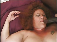 Fat Together with Furry Redhead Granny Gets A Chest O' Cocks