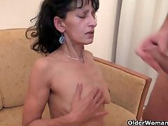 OldNanny Chubby grown up together with chubby milf try threesome