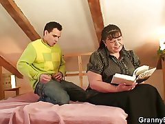 Nerdy granny is picked up together with fucked