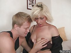 Flaxen-haired allows him drill her old snatch