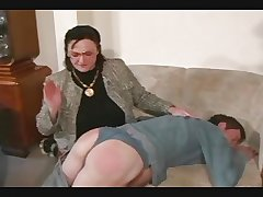 Granny Spanks coupled with Straps get under one's Boy