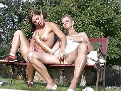 He caught venerable mother coupled with teen toying