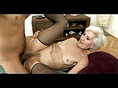 Superannuated Haired Granny in Stockings Gets Cum vulnerable her Hairy Pussy