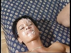 Mature milf gangbang together with facials