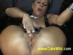 www.DateWild.com - Mature milf masturbate gets fuck hard by lollipop as a result hot