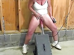 Of age with colossal clit squirts while fucked by the machine