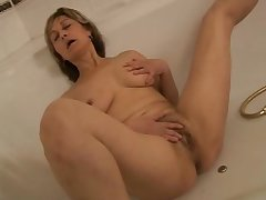 Adult unspecified bathtub dildoing