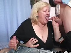 Blonde grandma gets slammed by three cocks