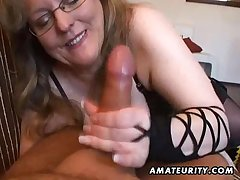 Busty amateur fit together handjob increased by blowjob hither cum in mouth