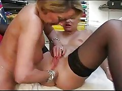 French grown-up lesbians toying coupled with anal fisting