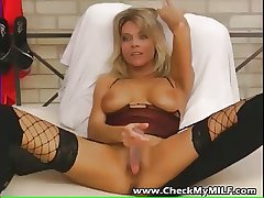 Hot amateur tow-haired MILF in black stocking not at all big dildo