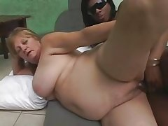 Nefarious Trannie fucks Blonde Mature