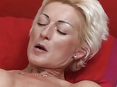 Sexy Blonde Mature fucks young man